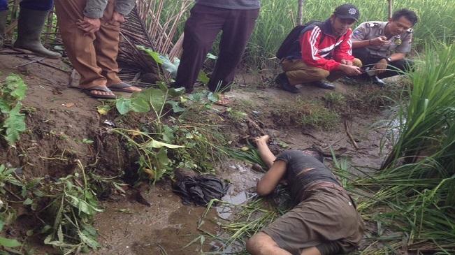 Jenazah Laki-laki Bernama Wawan Saat Ditemukan di Areal Persawahan Kelapa Rea Sukahujan, Cihara, Kabupaten Lebak Banten.